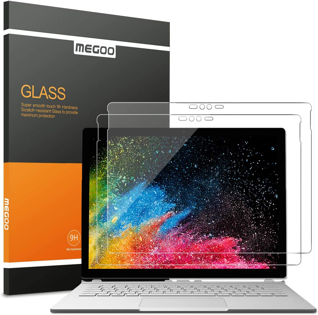 [2 Pack] Microsoft Surface Book Screen Protector, MEGOO Tempered Glass, Easy Installation Anti-Scratch HD Clear Protector (Updated Version 2018), Also Compatible for Surface Book 2 13.5 Inch(But NOT for surface book 3 Version 2020)