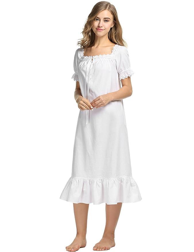 55b7aecead Avidlove Damen Kleid Nachthemd Schlafanzüge Nachtwäsche Negligees Langarm/Kurzarm  Kurz Absatz/Lang Absatz Dessous Baumwolle Reine: Amazon.de: Bekleidung