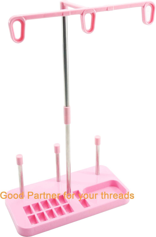 New brothread Soporte de bobina de hilo de bordar - 3 Carretes de Hilo Soporte para máquinas de bordar, coser, acolchar y serger - Tres colores para la selección - Rosa