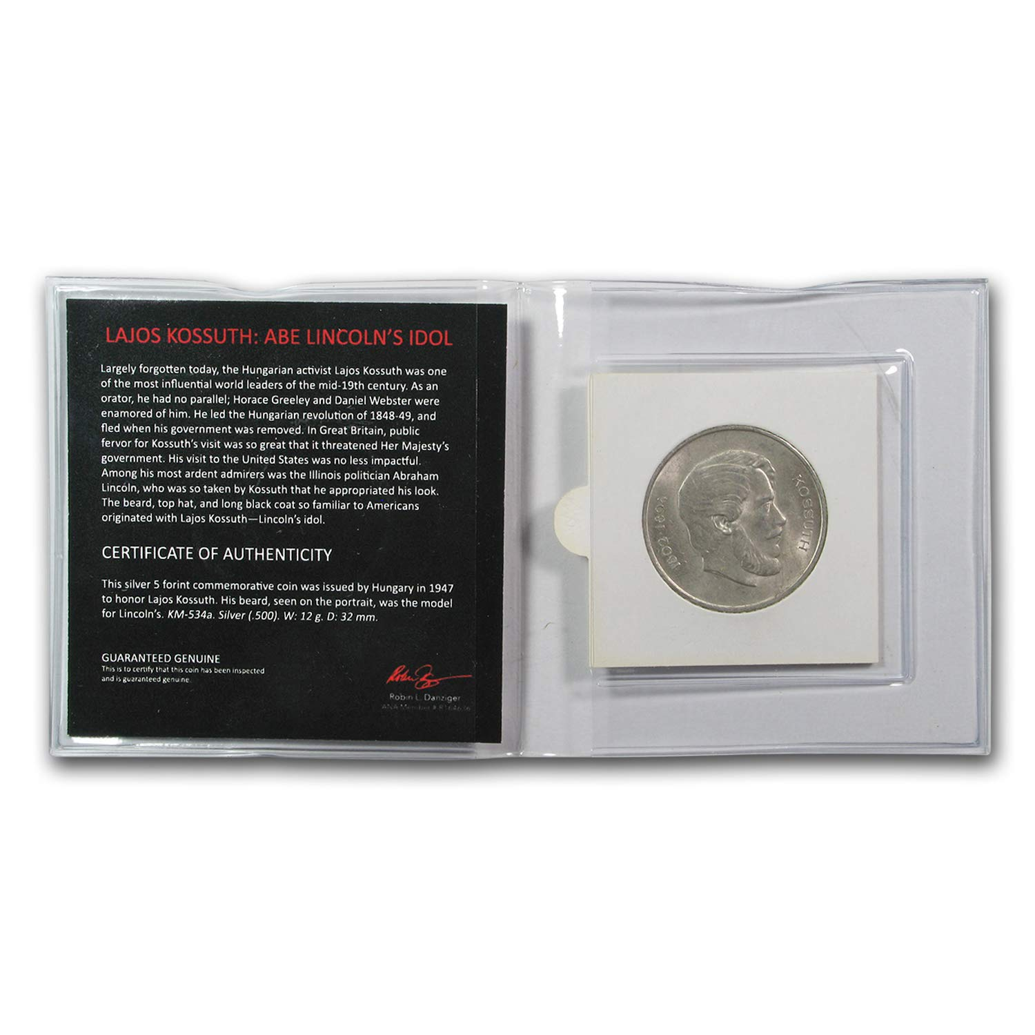 Lajos Kossuth 1947 5 Forint Silver Commemorative Coin Mini Album 1947 No Mint Mark Lincolns Idol Story /& Certificate Forint Seller Uncirculated