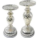 Dolucky Illuminated Mercury Glass Pedestal Pillar Candle Holder Set of 2 Silver