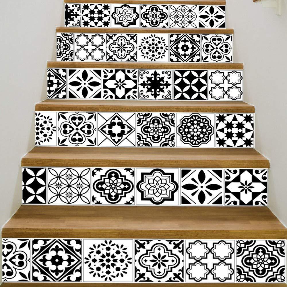 Tuscom 6 Pcs DIY European Creative 3D Stair Sticker|Removable Stair Sticker Home Decor Ceramic Tiles Patterns (4 Style 18x100cm) (B)
