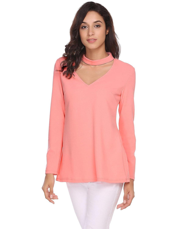 3e4fc2bd717a7 Zeagoo Women Sexy Long Sleeve Choker V Neck Plunging Tunic Top Open Back Shirt  at Amazon Women s Clothing store