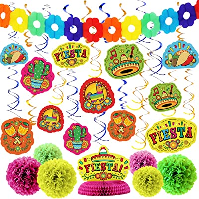 28 PCs Cinco De Mayo Fiesta Hanging Swirls Mega Pack with Strings, Tissue Pom Paper Flowers & Backdrop Banner, Honeycomb Table Centerpiece, Mexican Sombrero Taco Supplies Décor Party Decorations: Toys & Games