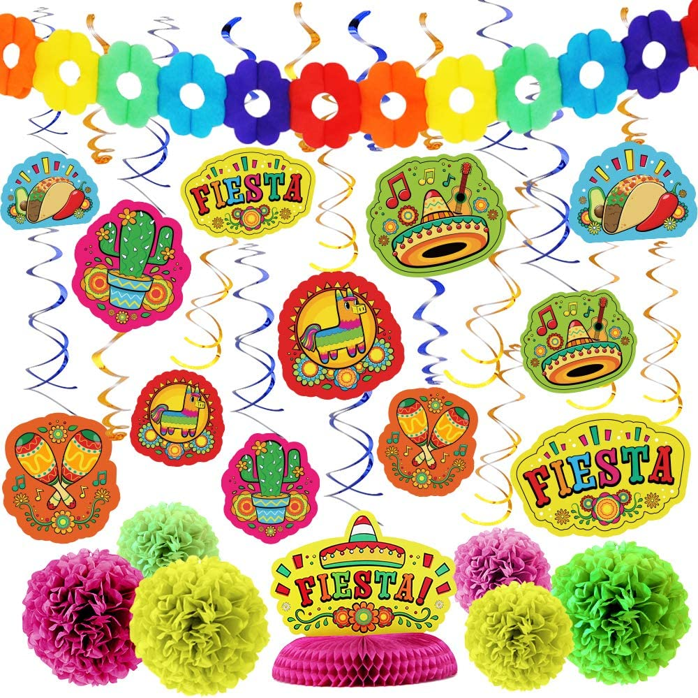 28 PCs Cinco De Mayo Fiesta Hanging Swirls Mega Pack with Strings, Tissue Pom Paper Flowers & Backdrop Banner, Honeycomb Table Centerpiece, Mexican Sombrero Taco Supplies Décor Party Decorations