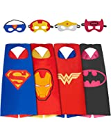 MIJOYEE Superhero Dress Up Costumes (boy girl) and Mask set of 4 different styles(Set of 4)