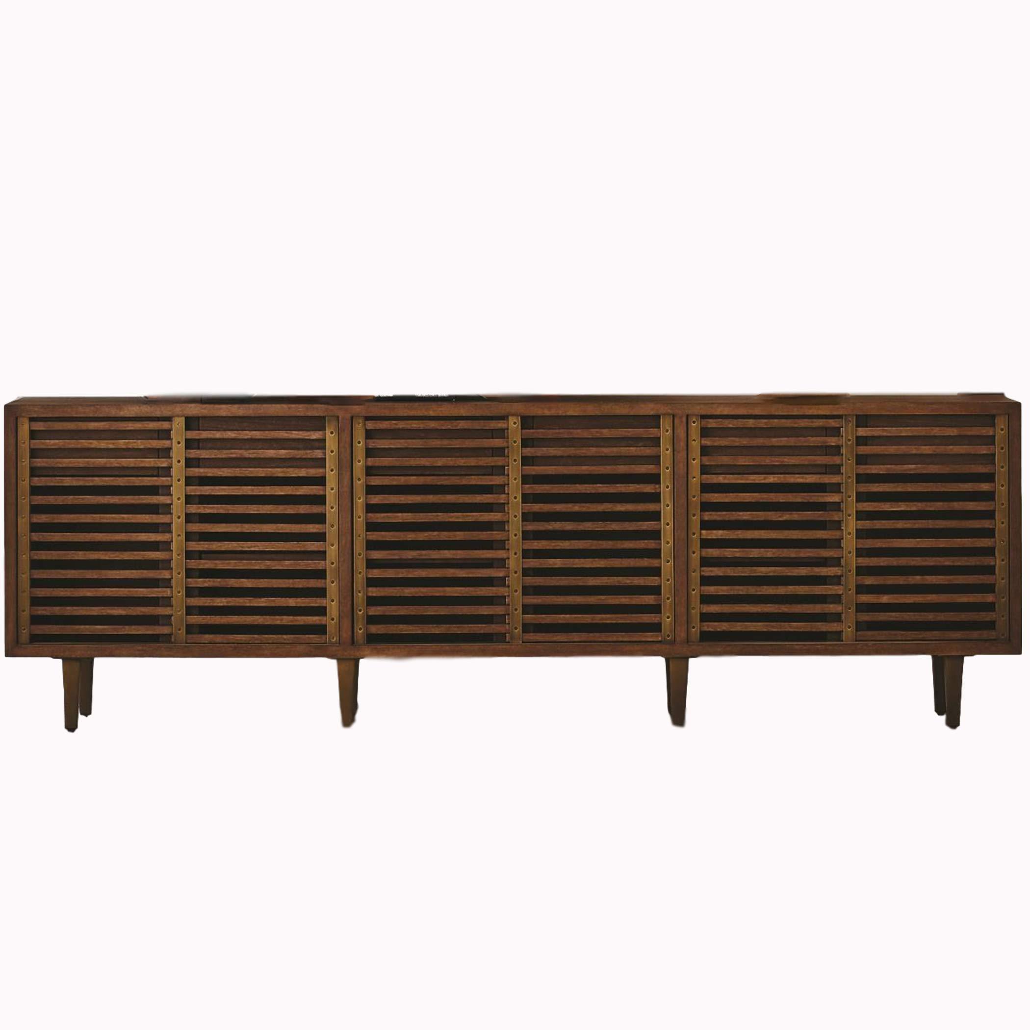 Global Views MidCentury Slat Front Sliding Door Media Cabinet Modern 86 in Wood Vintage Style by Global Views