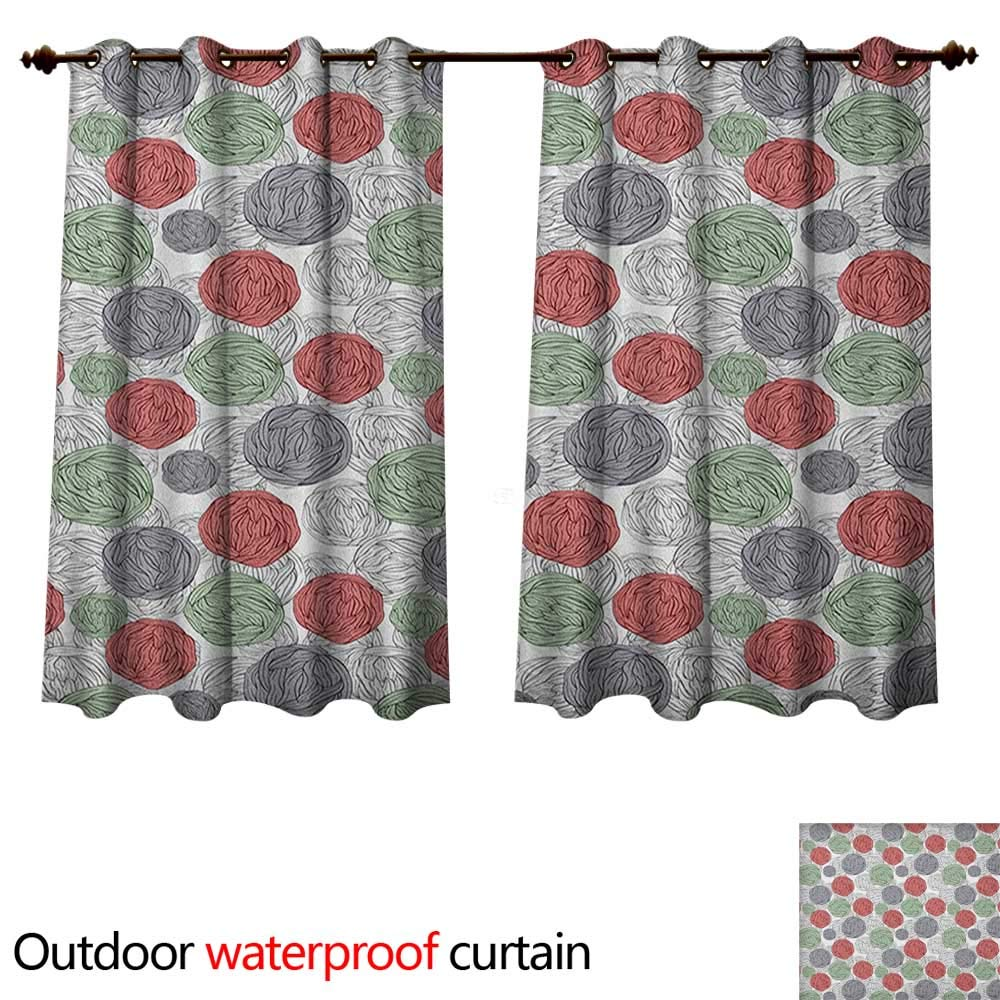 Anshesix Retro 0utdoor Curtains for Patio Waterproof Knitting Balls Crochet Hand Made Theme Domestic Hobby Vintage Theme W63 x L72(160cm x 183cm)