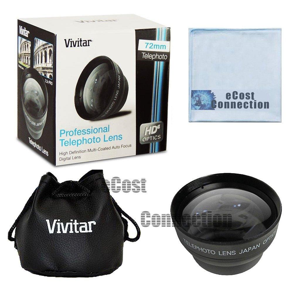 Vivitar PROシリーズ72 mm 2.2 X高AF (オートフォーカス) 望遠レンズ& ecostconnectionマイクロファイバー布   B00WH1O7WM