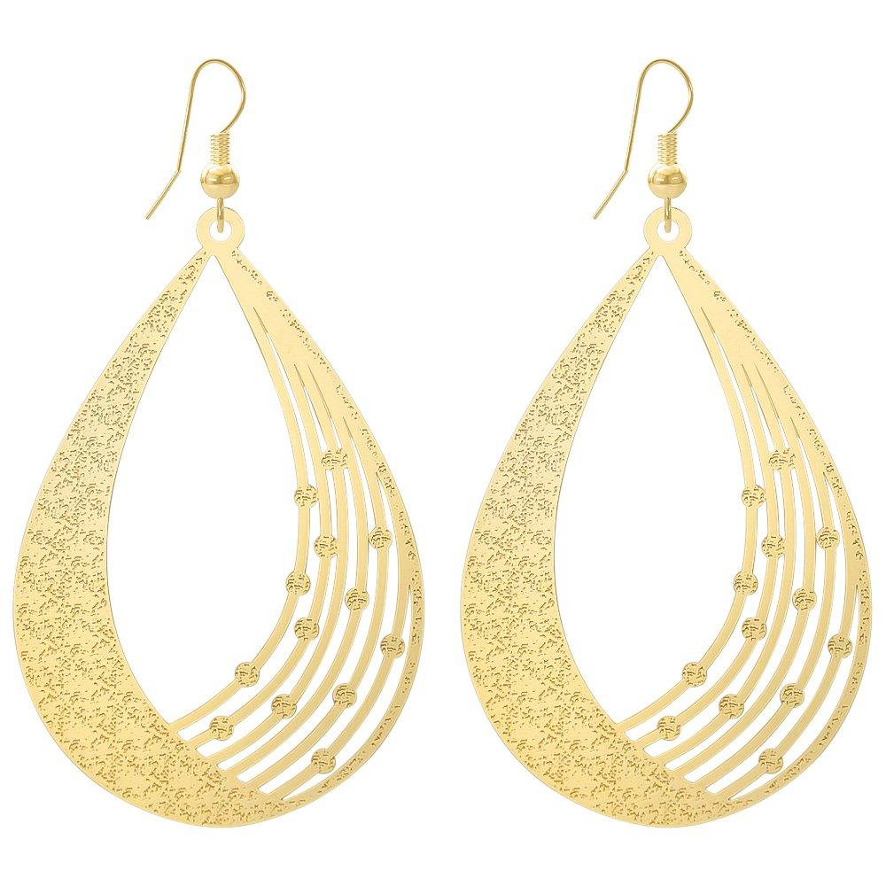 DMI Women Unique Jewelry Alloy Filigree Cutout Teardrop Dangle Earrings Gold-Color