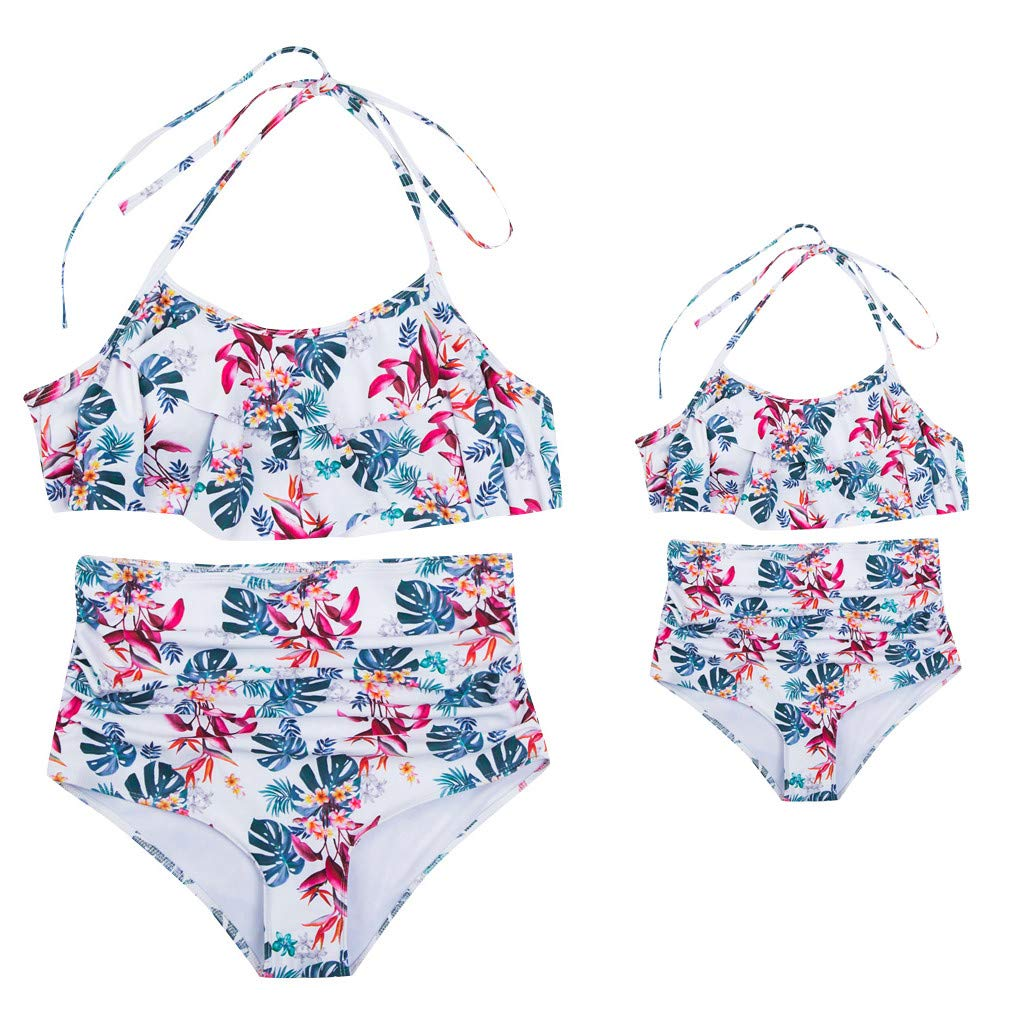 NUWFOR Mother and Daughter Print Two Piece Swimsuit Matching Swimsuit Clothing(White,3-4Y)