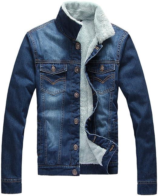 Jinmen Men S Warm Winter Slim Denim Jacket White Lamb Fur Lined At