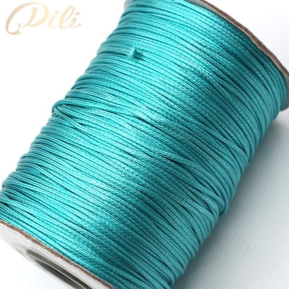 HYZKJ Cuerda 1Mm Cordón De Algodón Encerado Cuerda De Hilo De Hilo Encerado Collar De Cuerda Cuerda Joyería DIY, Azul Cielo: Amazon.es: Jardín