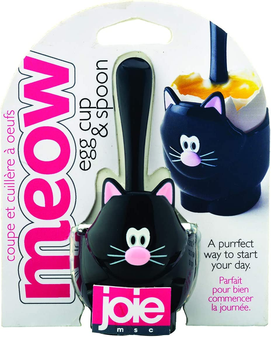 5x5x11 cm Mixed Black and White Joie Cat Egg Cup and Spoon