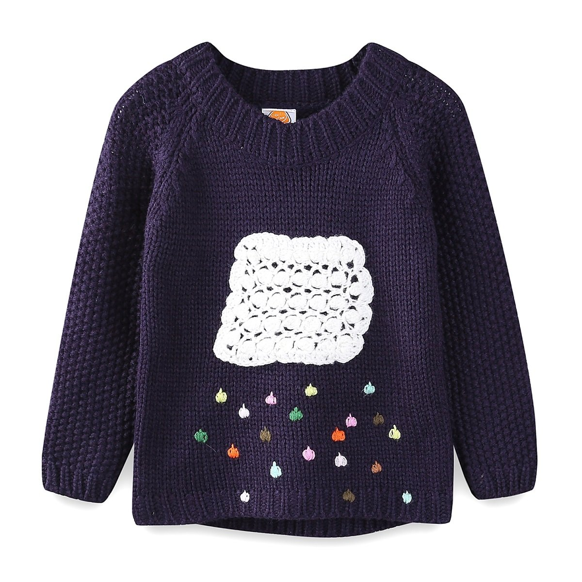 UWESPRING Girls Fashion Cartoon Clouds Pattern Knit Sweaters Pullover 6-7T Navy