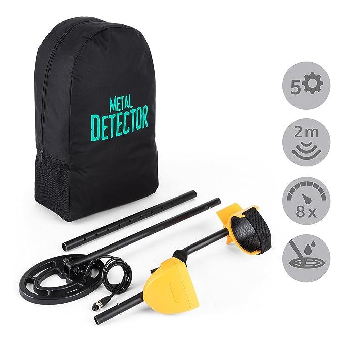 DURAMAXX Dr. Jones Detector de metales con mochila y auriculares (8 niveles sensibilidad, cubierta para la pantalla, apoyabrazos acolchado, resistente agua, ...