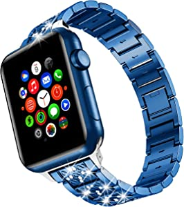 wootfairy Compatible with Apple Watch 42mm 44mm, Series 6 SE 5 4 3 2 1, Women Bling Rhinestone Metal iwatch Band Strap Replacement Diamond Blue, 42mm/44mm