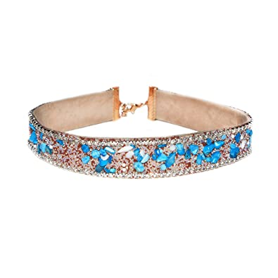a208371b3c369 MHZ JEWELS Vintage Gemstone Rhinestone Chokers Red Blue Black Crystal Stone  Choker Necklaces Collar for Women Girls