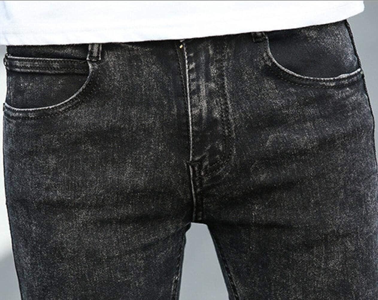 HEFASDM Mens Stretchy Summer Casual Work Pocket Long Slim Denim Jeans
