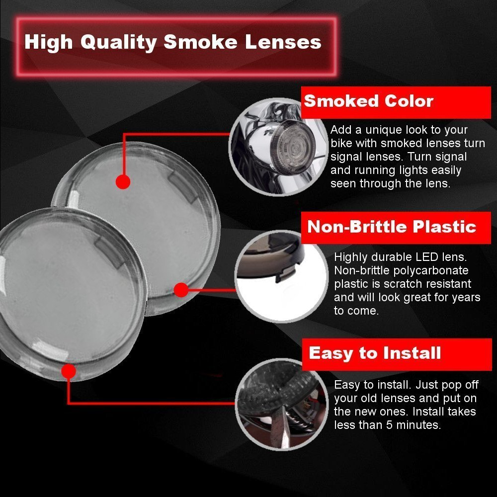 with Smoke Lenses Eagle Lights Generation II Front LED Turn Signals with White Running Lights for Harley Davidson Motorcycles 1157 Bullet style turn signals