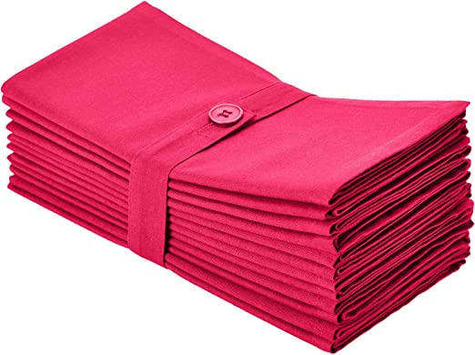 Cotton Craft Classic Cotton Set Of 12 Pure Cotton Solid Color Dinner Napkins 20 Inch X 20 Inch Magenta Kitchen Dining