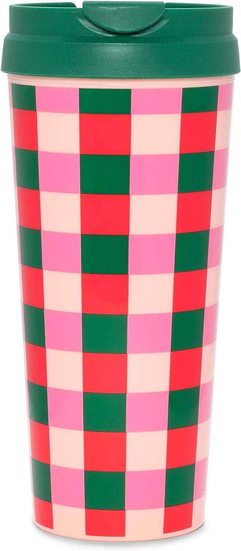 Ban.do Hot Stuff Insulated Thermal Mug, 16 Ounce Pink/Green Travel Tumbler, Buffalo Plaid