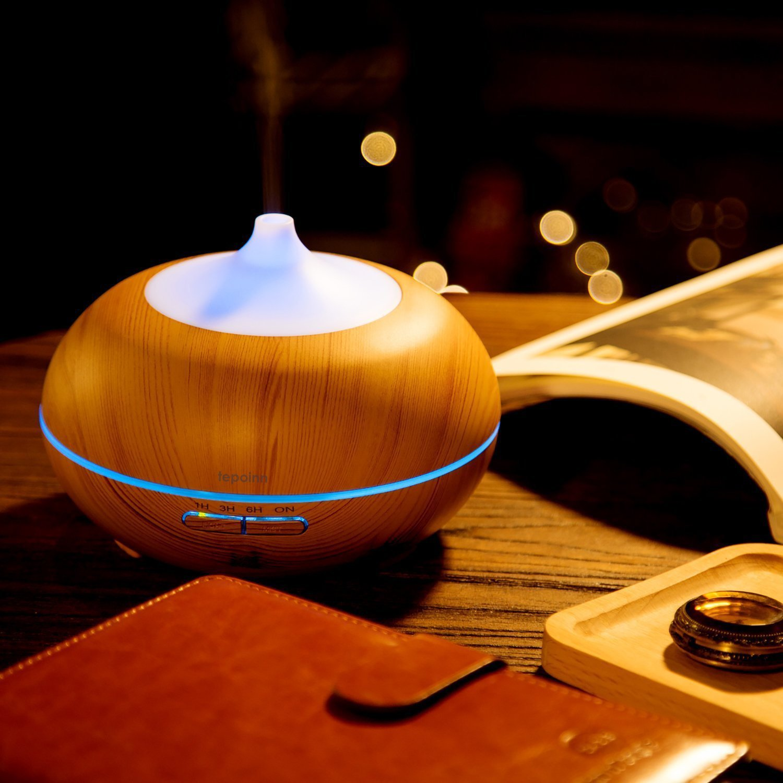 300ml J05-0001-150-154 Weiß Tepoinn 300ml Aroma Diffusor Luftbefeuchter Ultraschall mit LED Farbwechsel Duftzerstäuber Humidifier Essential Oil Diffuser Purifier für Babies Kinder Haus Yoga Büro Spa