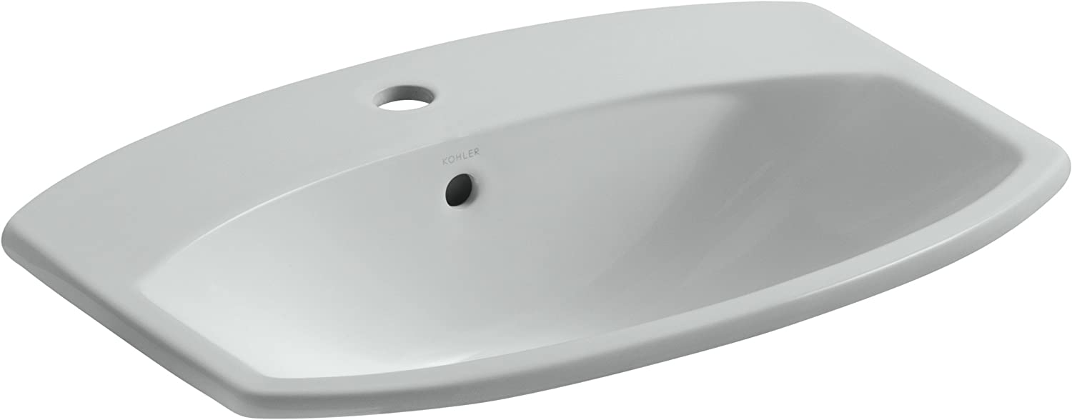 KOHLER K-2351-1-95 Cimarron Self-Rimming Bathroom Sink with Single-Hole Faucet Drilling, Ice Grey