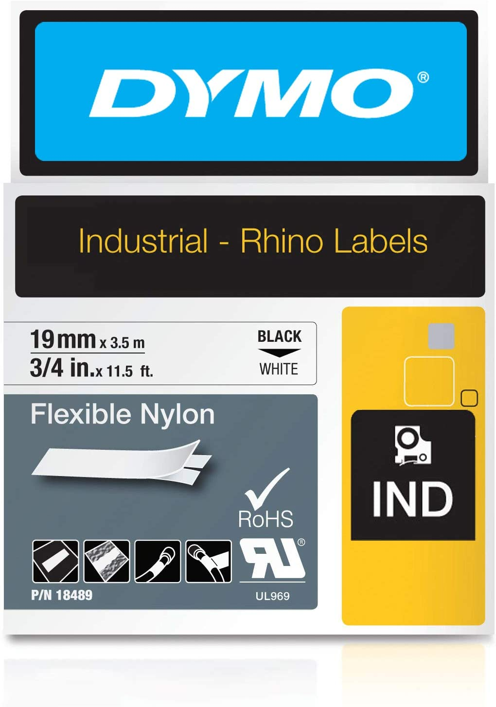 US STOCK 1x Black on White Polyester IND Label Tape 18489 for DYMO RhinoPRO 19mm