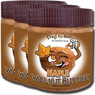 product image for Crazy Go Nuts Walnut Butter - Maple, 9 oz (3-Pack) - Healthy Snacks, Keto, Vegan, Low Carb, Gluten Free, Superfood - Natural, Non-GMO, ALA, Omega 3 Fatty Acids, Good Fats and Antioxidants
