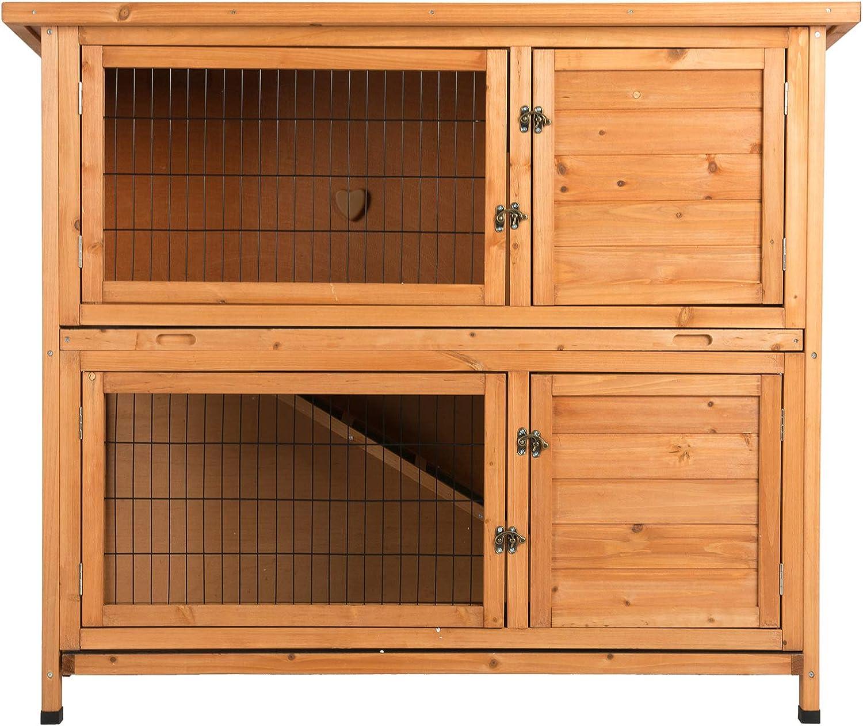 Fithalt Conejera de Madera Jaula de Conejo Gallinero Casa para Mascotas con Escalera para Pequeños Animales para Jardín o Patio: Amazon.es: Productos para mascotas