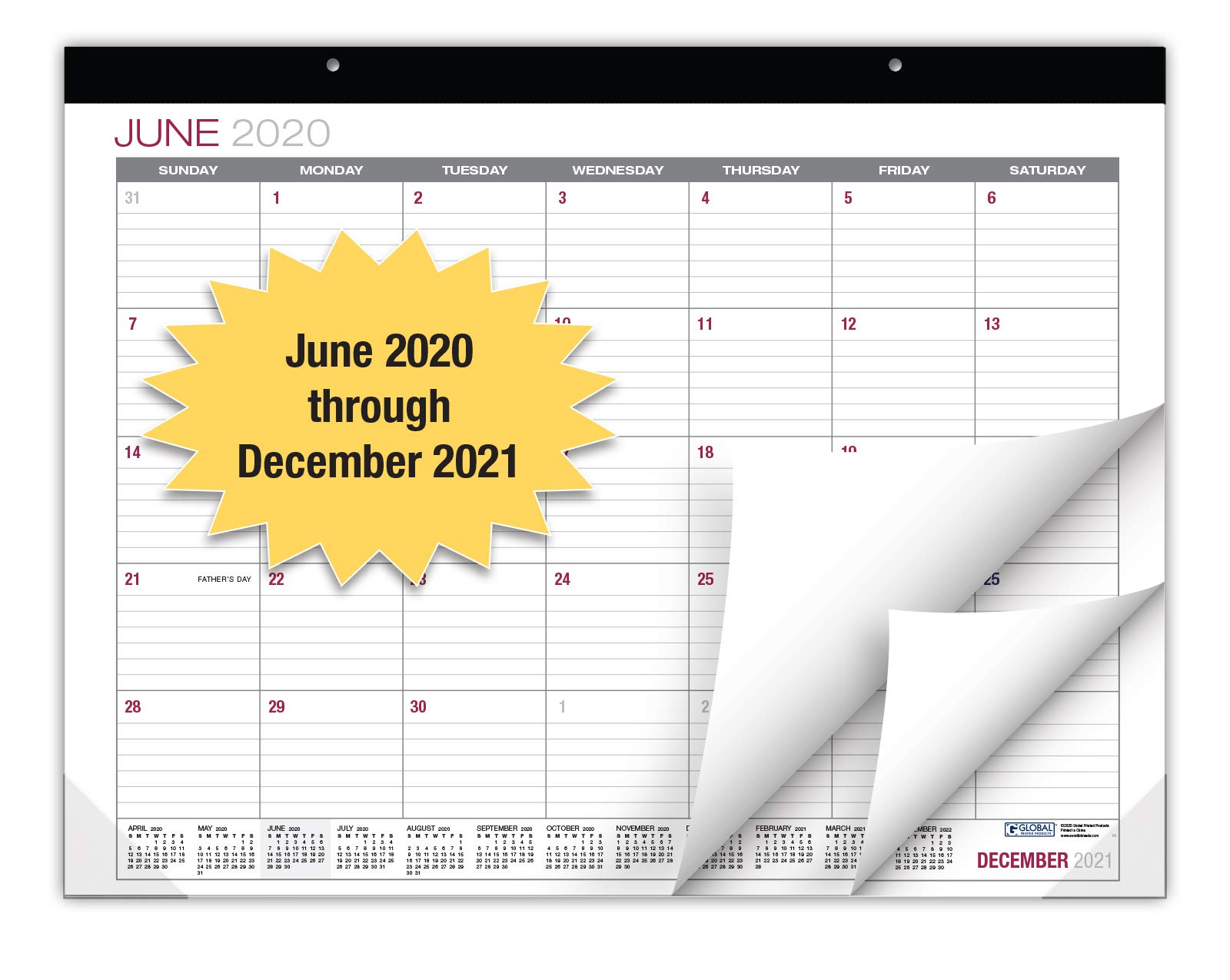 """Professional Desk Calendar 2020-2021: Large Monthly Pages - 22""""x17"""" - Runs from June 2020 Through December 2021 - Desk/Wall Calendar can be Used Throughout 2020-2021"""