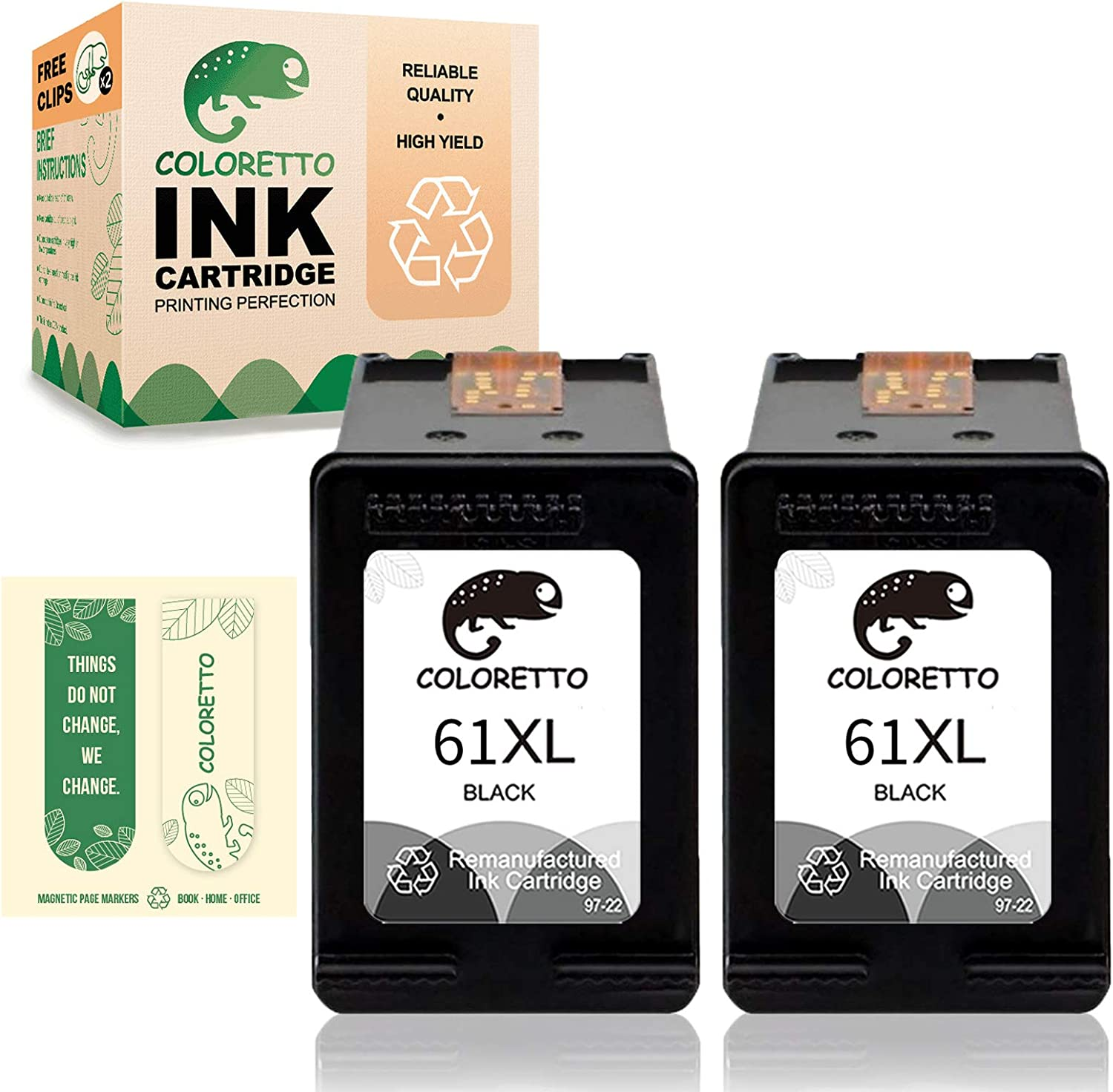 Coloretto Remanufactured Printer Ink Cartridge Replacement for HP 61XL forDeskjet 1000 1010 1012 1014 1050 1050A 1051 1055 (Special Edition Includes 2 Bookmarks) (2Black) Combo Pack