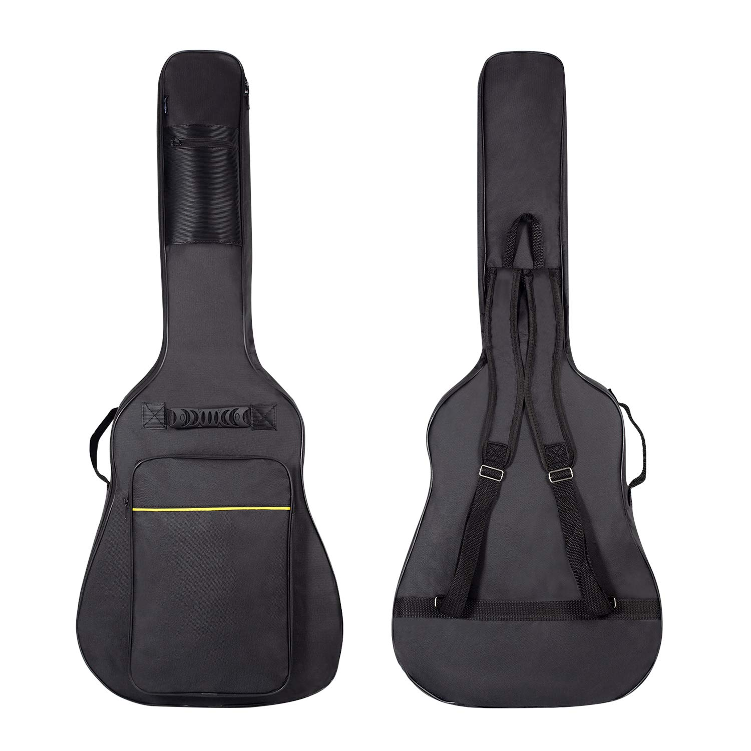 CAHAYA [Upgraded Version] 41 Inch Acoustic Guitar Bag 0.3 Inch Thick Padding Waterproof Dual Adjustable Shoulder Strap Guitar Case Gig Bag with Back Hanger Loop - Black by CAHAYA