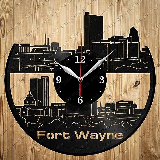 Amazon Com Vinyl Clock Fort Wayne Skyline Art Decor Home Wall Clock Black Original Gift Unique Design Home Kitchen