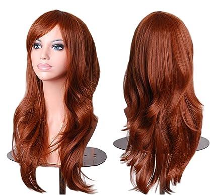 28inch Mujeres largo rizado cabello ondulado pelucas de cosplay para las mujeres con el casquillo de