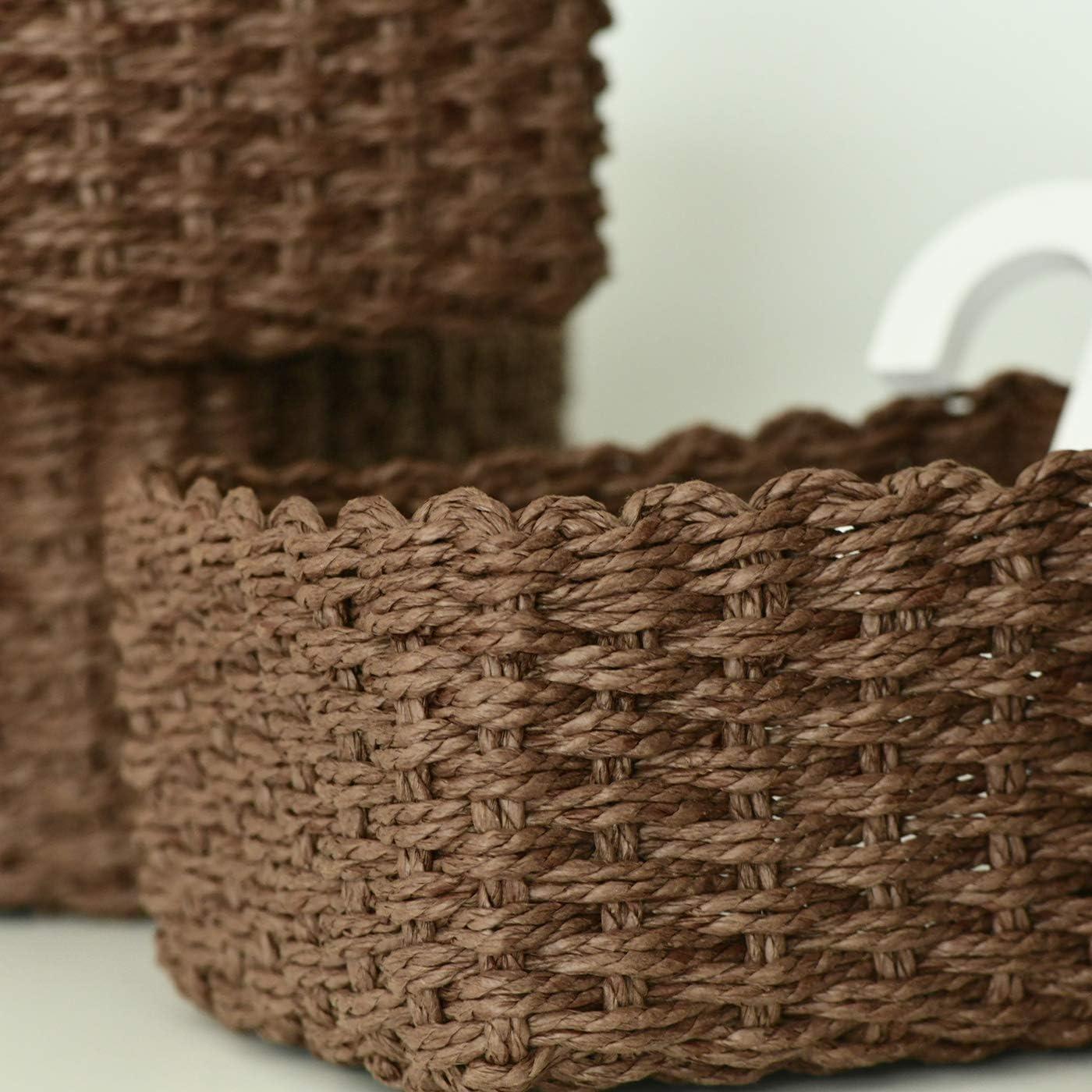 La Jol/íe Muse Paniers de Rangement Chocolat en Papier /Écologique Lot de 3 pour Chambre D/écoration /étag/ère Organisateur