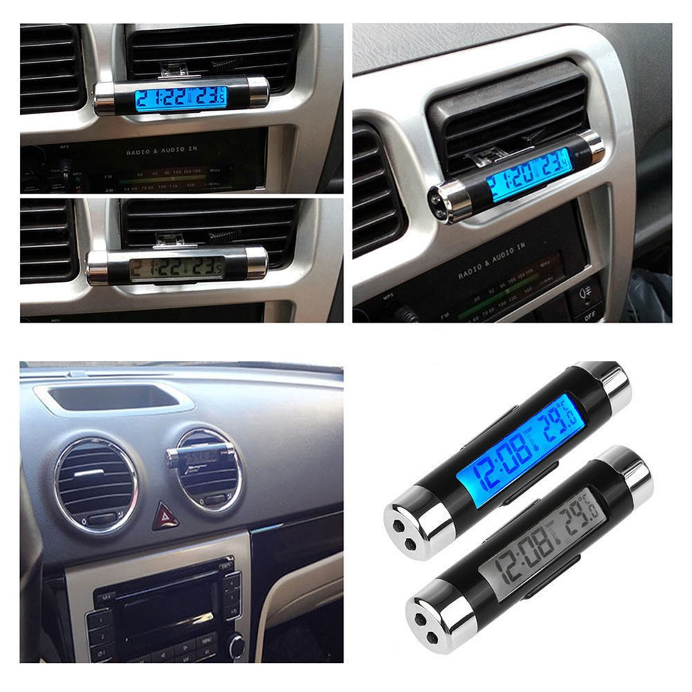 SummerYoung Time Clock LCD Display Screen Portable Blue Backlight Thermometer Car Auto Digital