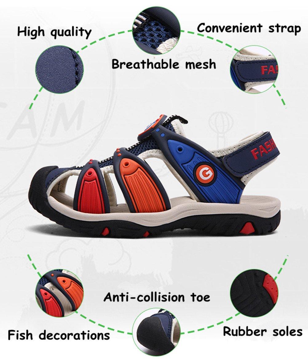 DADAWEN Boy's Girl's Summer Outdoor Breathable Athletic Bump Toe Strap Sport Sandals (Toddler/Little Kid/Big Kid) Blue US Size 5 M Big Kid by DADAWEN (Image #2)