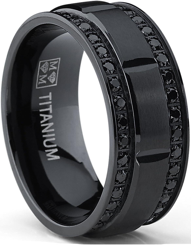 9MM Men's Black Titanium Wedding Band Ring with Double Row Black Cubic Zirconia, Comfort Fit