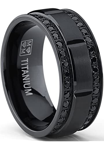 9MM Menu0027s Black Titanium Wedding Band Ring With Double Row Black Cubic  Zirconia, Comfort Fit