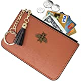 Tovly Womens Mini Leather Coin Purse Cash Wallet Card Holder Zipper Pouches with Key Ring (Brown)