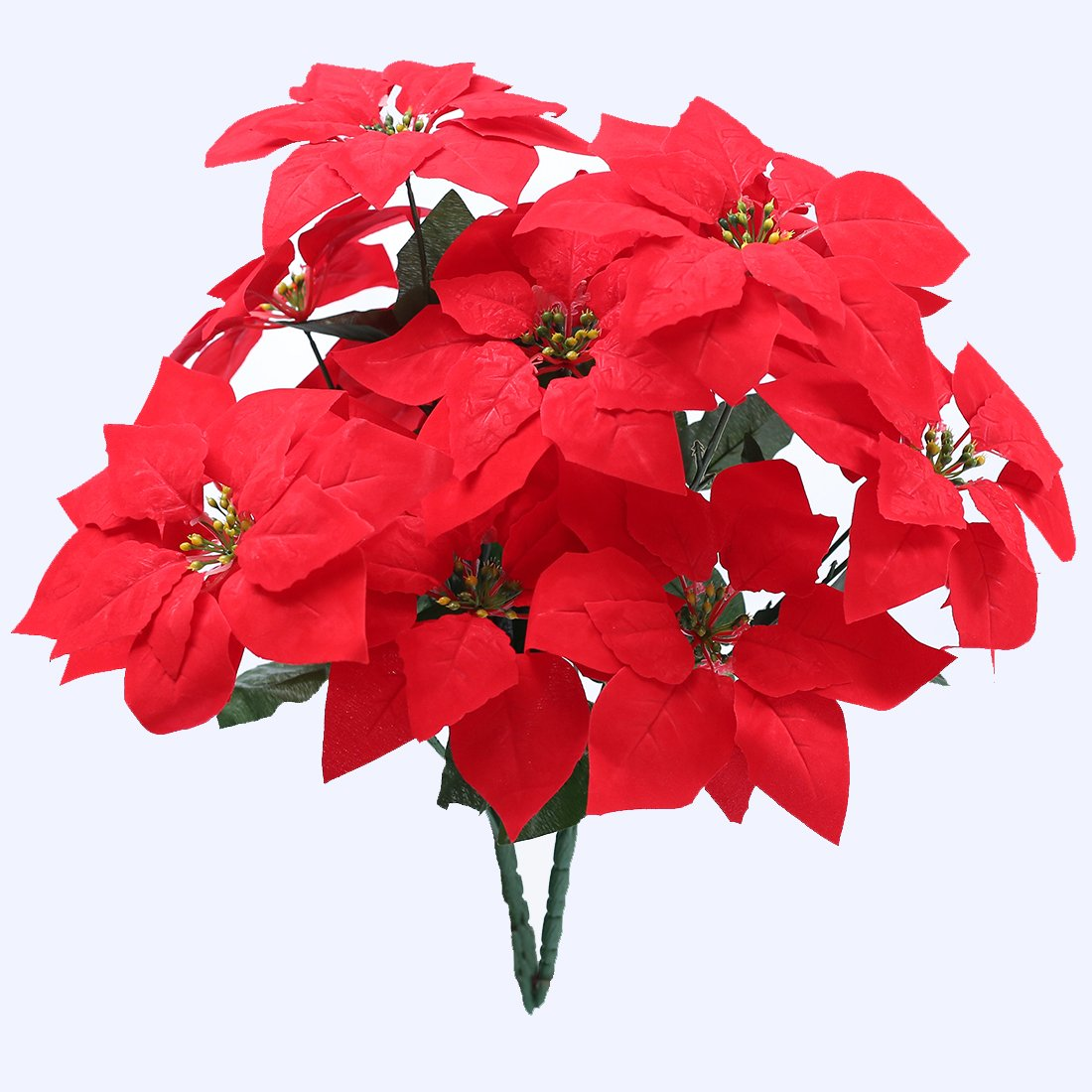Christmas Red Flowers, JUSTOYOU 2PCS Artificial Poinsettia Flower Bouquet for Christmas Homes Decor