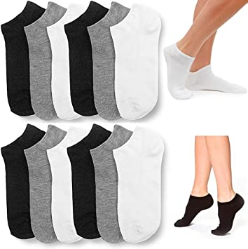 6 Pairs Women Girls Fashion Cotton School Casual Low Cut Socks Size 9-11 white
