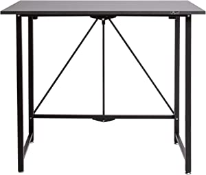 Origami Folding Computer Desk for Office Study Students Bedroom Home Gaming and Craft | Space Saving Foldable Design, Fits Dual Monitors and Laptop, Collapsible, No Assembly Required | (Wood, Medium)