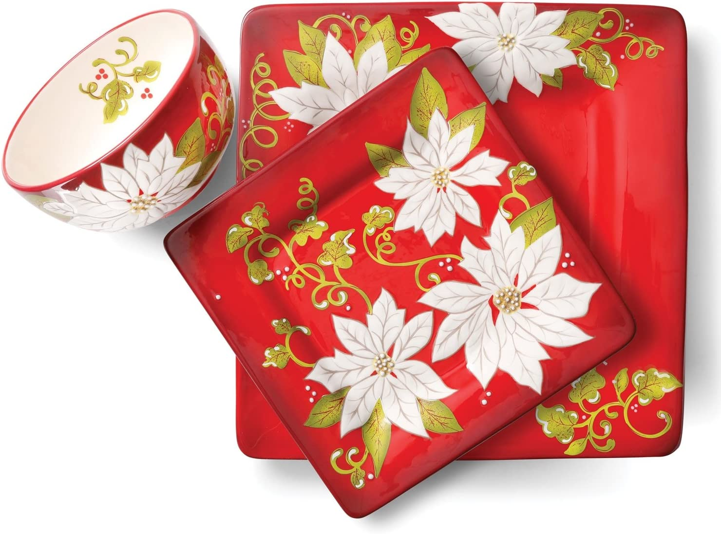 Laurie Gates Pleasant Poinsettia 12 Piece Dinnerware Set Red Christmas Dishes Amazon Co Uk Kitchen Home