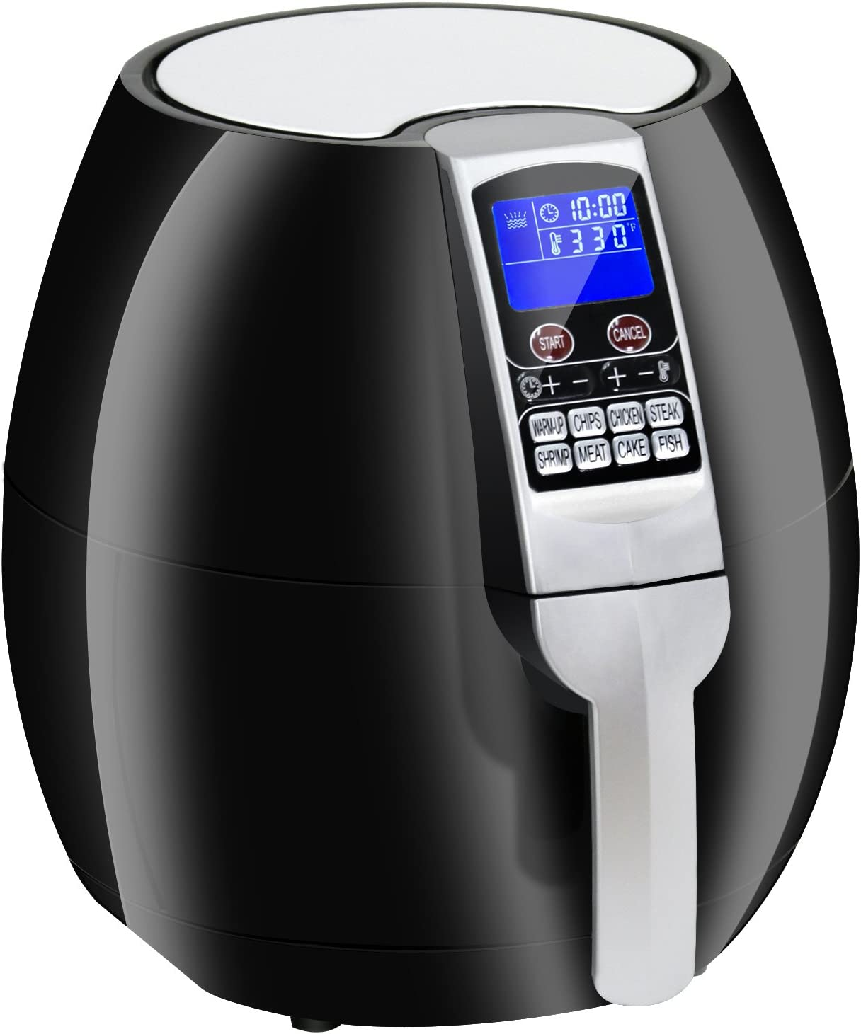 ZENY 8-in-1 3.7 Quart Programmable Electric Air Fryer, 1500W LCD Display Screen Control Kitchen Cooker w 8 Cooking Settings, Auto Shut off Timer Black