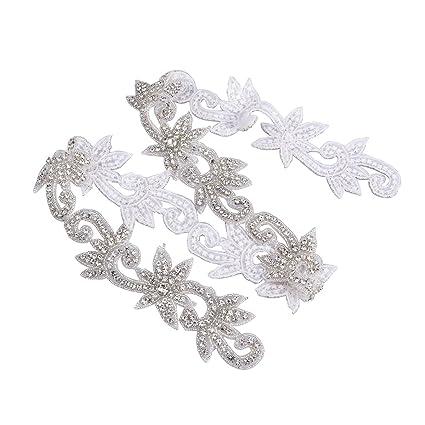 ULTNICE Apliques de diamantes de imitación de la correa del marco nupcial de la boda decorar