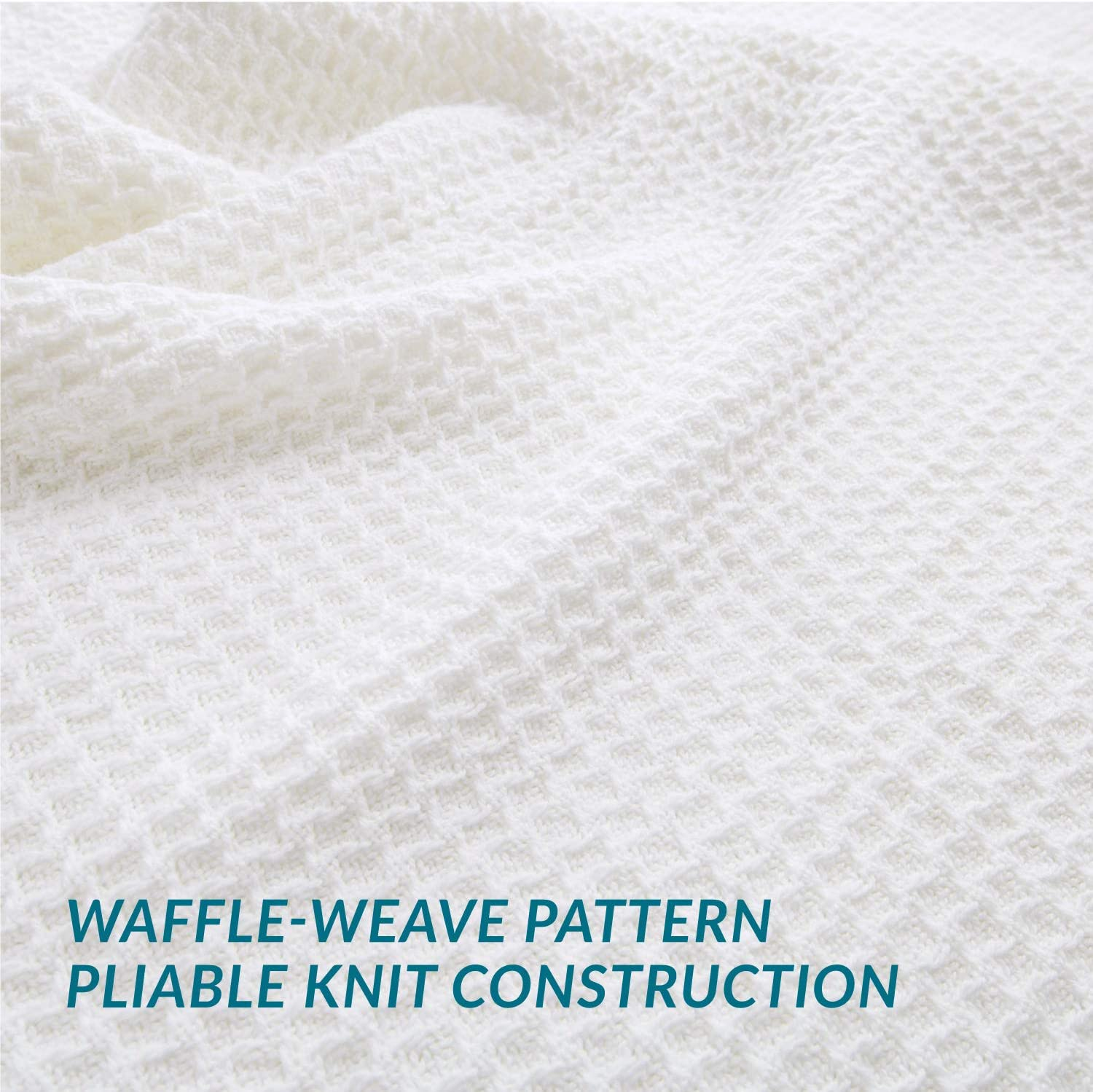 Bedsure 100% Cotton Thermal Blanket - 405GSM Premium Breathable Blanket in Waffle Weave for Home Decoration - Perfect for Layering Any Bed for All-Season - Full/Queen Size (90 x 90 inches), White: Home & Kitchen