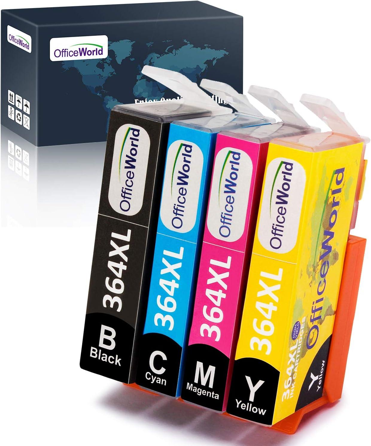 OfficeWorld Reemplazo para HP 364 364XL cartuchos de tinta Compatible para HP Photosmart 5520 7510 5510 7520 5522, HP Officejet 4620, HP Deskjet 3520 3070A (1 Negro, 1 Cian, 1 Magenta, 1 Amarillo)